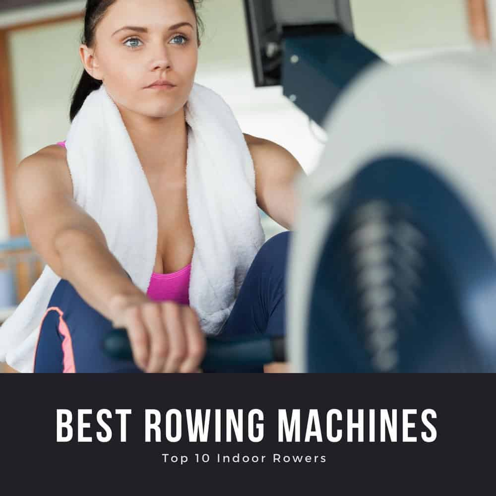 woman exercising on rowing machine with towel