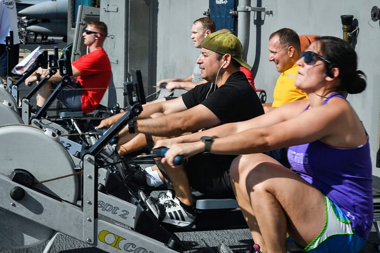 group training on rowing machines