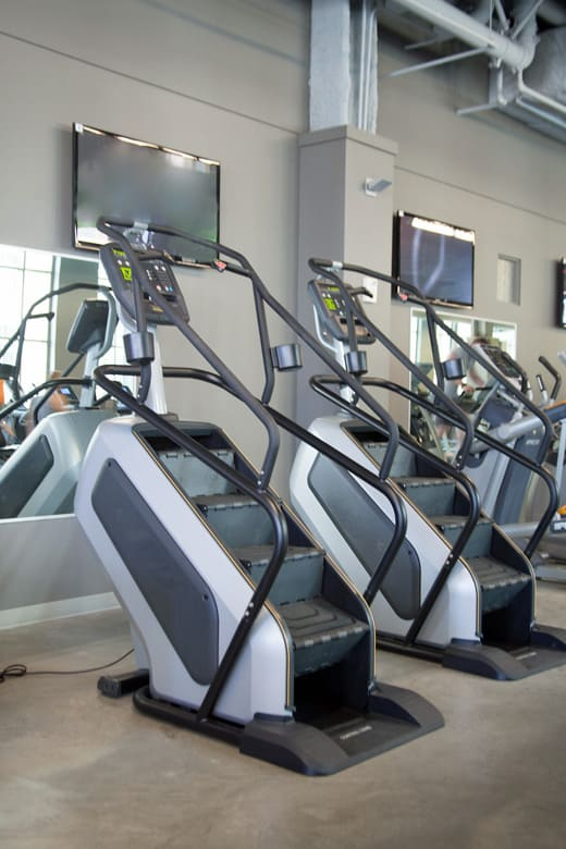 Stair climbers in a gym